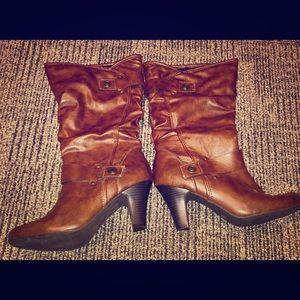 a.n.a Women's Tan High Heel Boots